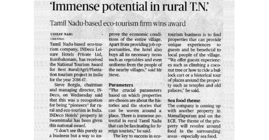 National Tourism award for Rural Tourism